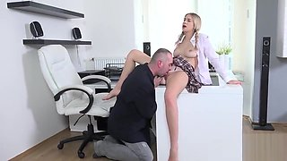 Lovable college girl is teased and pounded by her elder tutor