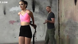 Toyed babe punished by maledom while restrained
