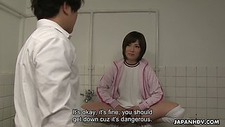 Japanese nympho Kaede Oshiro bangs one geeky dude in the men's room