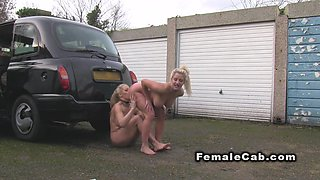 Huge tits lesbians in fake taxi