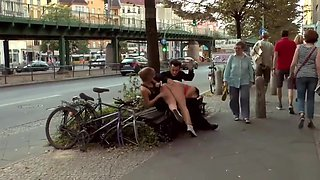 Big tits slave spanked and fucked in public