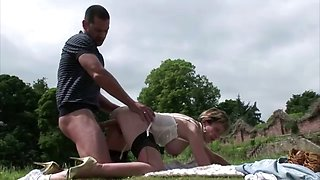 Lady sonia fucked by groundskeeper outdoors in the grass