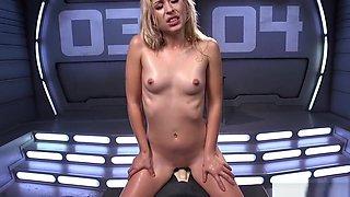 Perky tits student rides fucking machine
