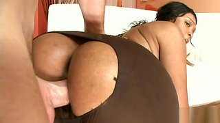 Big cock penetrates black girl