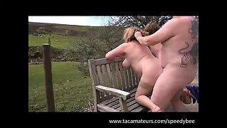 SpeedyBee - 2 Busty mature sluts fucked outdoors