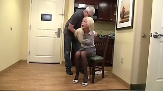 Office Manager tied gagged and humiliated with her panties down and her tits out
