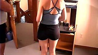 Schoolgirl gets a full force bare paddling