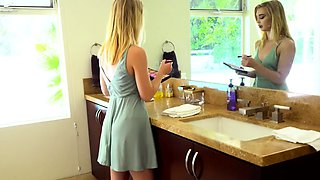 Teen stepsister masturbates with her horny stepbrother