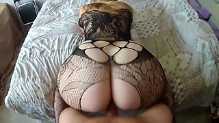 He continues to fuck this cute girl sexy lingerie after cum on her big ass!