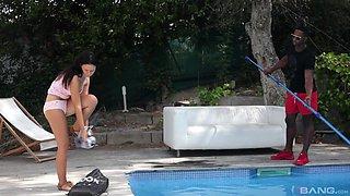 Gina Ferocious fucks a big black cock by the swimming pool
