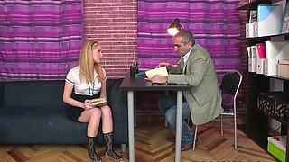 Russian Blonde Student Fucks a Tricky Old Teacher
