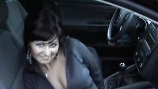 Dark-haired mommy is fucking her puss