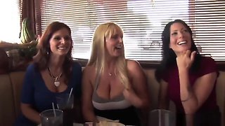 Busty Shaved Cougars Sharing Big Cock Foursome