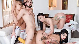 Sporty babes enjoying orgy with hot boyfriend