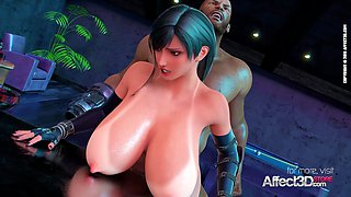 Affect3D - Big tits bartender blacked in a 3d animation