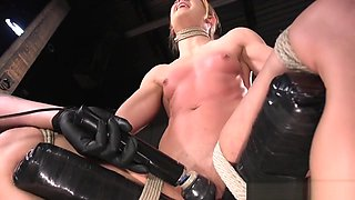 Restrained submissive punished by fingering