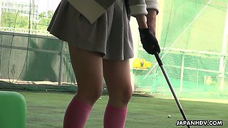 Kinky Japanese golf player Tomoyo Isumi is poked both mish and doggy