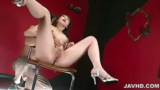 Tomoka Sakurai in pink satin fingered until she gushes