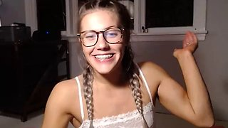 Hottest fit bonde girl around, smalltits blue eyes pigtails braces glases