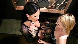 Lesbian mistresses anal dominates babe