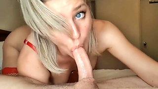 Glorious blow job and cum