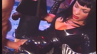 Babes in thigh high boots and gloves in anal foursome