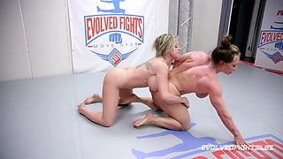 After she finished a match Brandi Mae gets her pussy banged by a girl