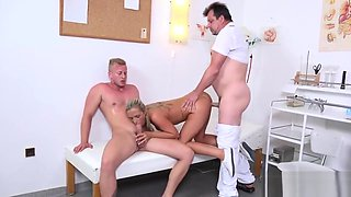 Man assists with hymen examination and riding of virgin nympho