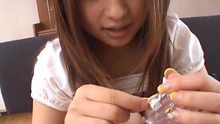 Hot Asian honey Kokomi Naruse in pink panties getting fingered by her boyfriend