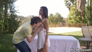captivating oiled up babe Maya Bijou gets her pussy fucked in the garden