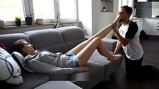 Daniela - Young Goddess Training Her Footboy