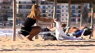 Beach voyeur finds naughty amateur babes under the hot sun
