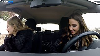 Lesbian babe Amirah Adara is toying pussy and anus of sexy hitchhiker Tiffany Tatum