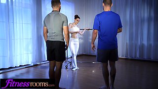 Fitness Rooms Redhead ballet teacher Charlie Red threesome with gym hunks