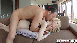 All Internal Cute gothic girl enjoys her creampie