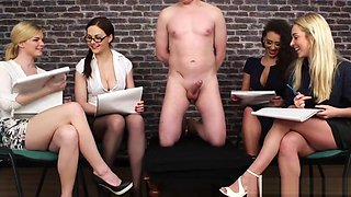 British CFNM babes make cock spray cum