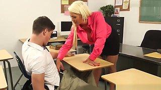 Blonde teacher Alura Jenson pleases horny student Bruce