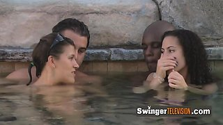 Horny swinger couples are touching naked