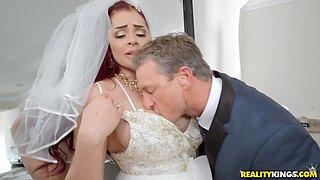 Redhead bride to be Skyla Novea forced to fuck a stranger
