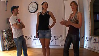 Blond french milf teaches submission to a girl