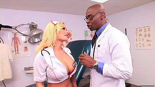 Busty, blonde nurse got down and dirty with a handsome, black doctor in his office