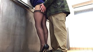 Sissy gets wanked in public toilet again 1