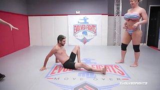 Alura jenson kicks opponent in balls in nude wrestling