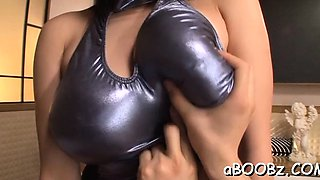 Amazing busty Hana Haruna enjoys oral action