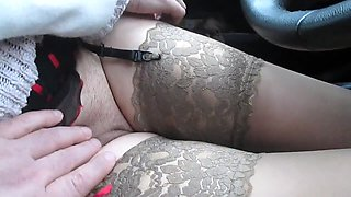 My perverted wife puts on stockings and flashes her pussy in the car