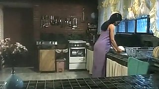 Exquisite and hot dark skin babe fucked hard in the kitchen