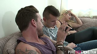 Kinky blonde with huge natural boobs Megan Clara is fucked by boyfriend's friend