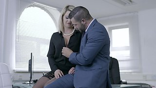 Business lady Sienna Day gets her tits covered with cum after a meeting