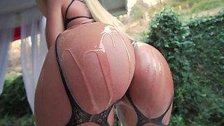 Kissa Sins oiled up and fucked hard