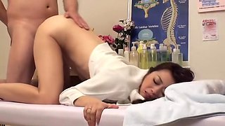Erotic massage with some lovely Asian whore getting fucked very hard